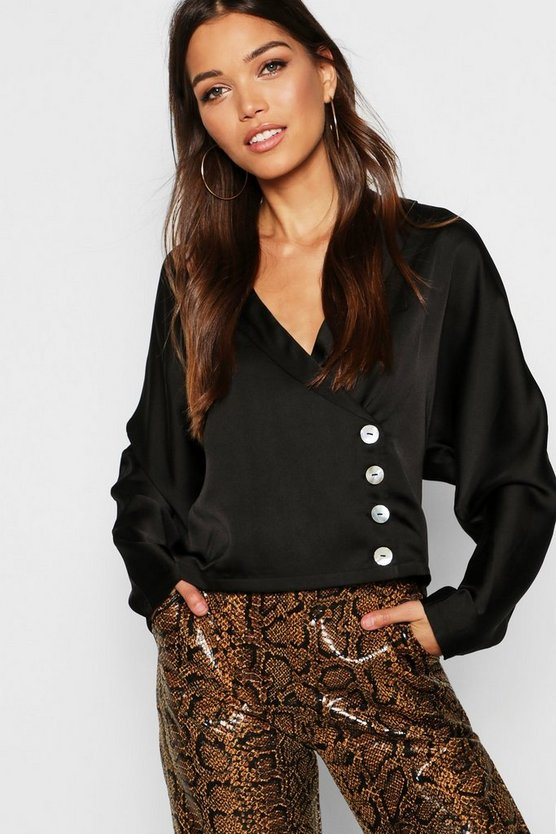 Satin Asymmetric Button Through Revere Shirt, Black, Donna