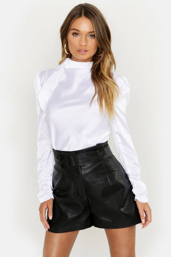 Premium Satin Ruched Arm High Neck Blouse