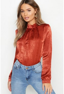 Womens Rust Hammered Satin High Neck Blouse
