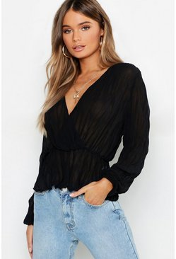 Womens Black Pleated Chiffon Wrap Peplum Hem Blouse