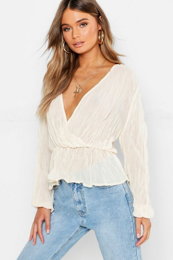 Pleated Chiffon Wrap Peplum Hem Blouse