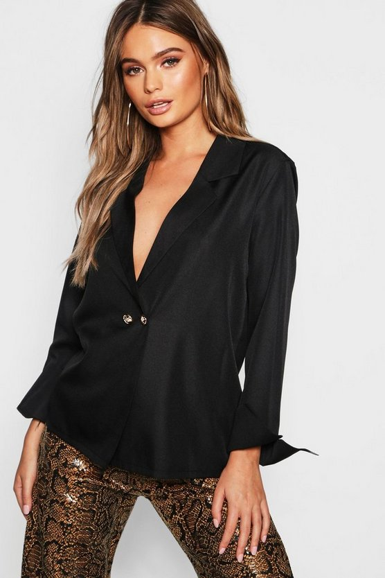 Womens Black Blazer Button Detail Blouse