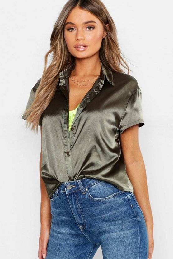 Satin Boxy Cropped Shirt