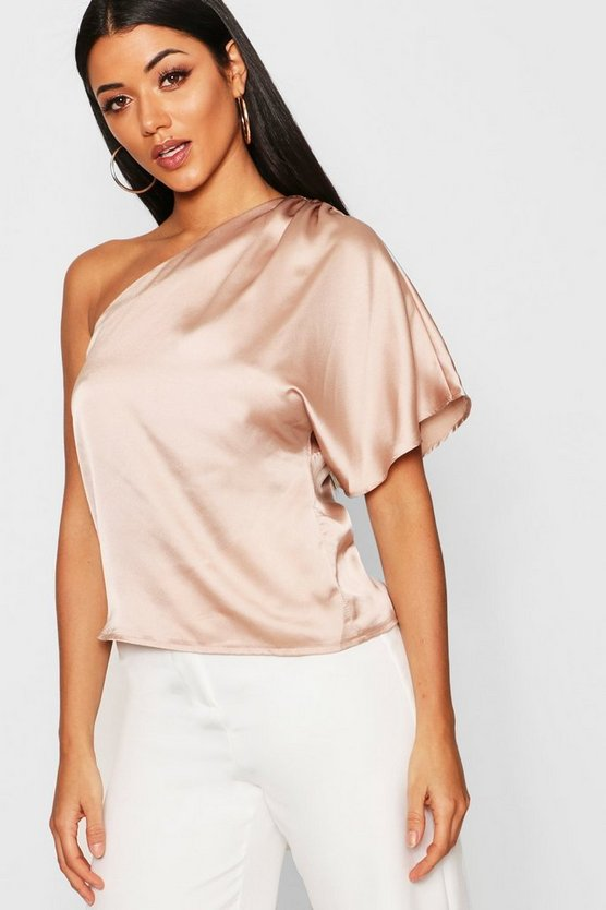 Premium Satin One Shoulder Ruched Top