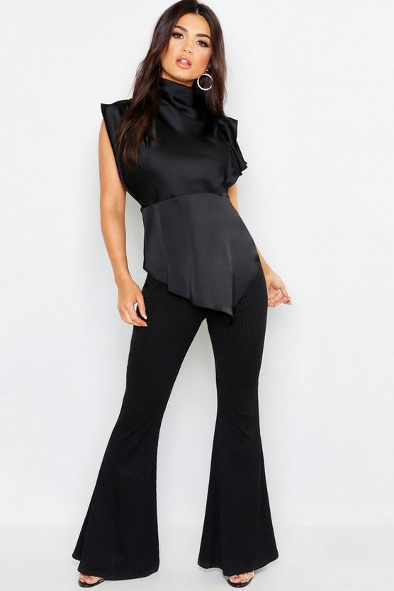 Premium Satin High Neck Ruffle Side Top
