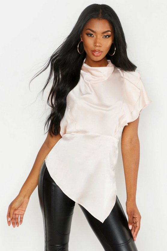 Champagne Premium Satin High Neck Ruffle Side Top