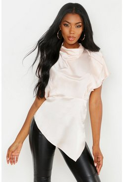 Womens Champagne Premium Satin High Neck Ruffle Side Top