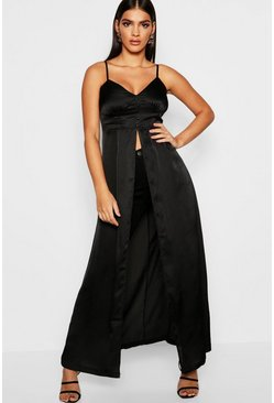 Womens Black Premium Satin Button Detail Maxi Cami