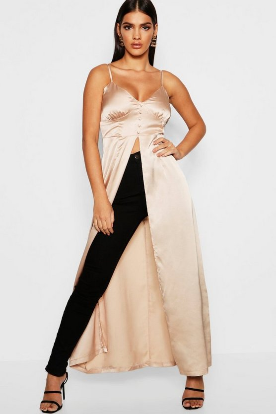 Premium Satin Button Detail Maxi Cami