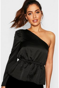 Womens Black Premium Satin One Shoulder Peplum Top