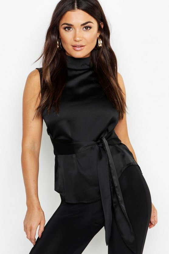 Womens Black Satin High Neck Tie Waist Top