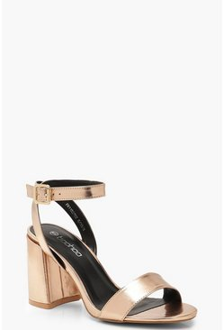 Womens Rose gold Chunky Block 2 Part Heels