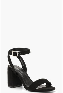 Chunky Block 2 Part Heels, Black