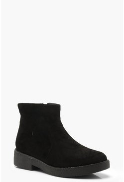 Womens Black Chunky Chelsea Boots