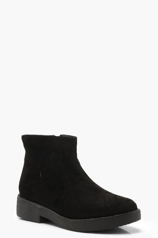 Block Heel Shoe Boots, Black, Женские