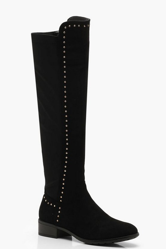 Studded Knee High Boots