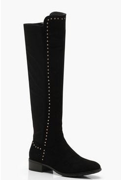 Womens Black Studded Knee High Boots