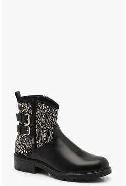 Womens Black Studded Cut Work Biker Boots