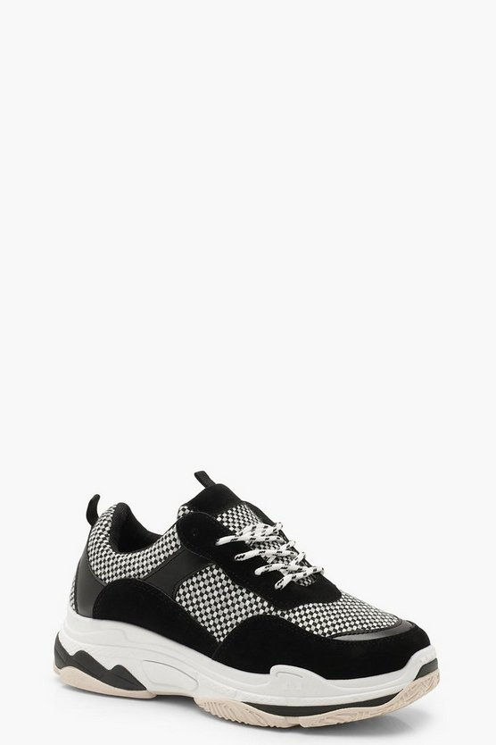 Womens Black Checkerboard Chunky Trainers