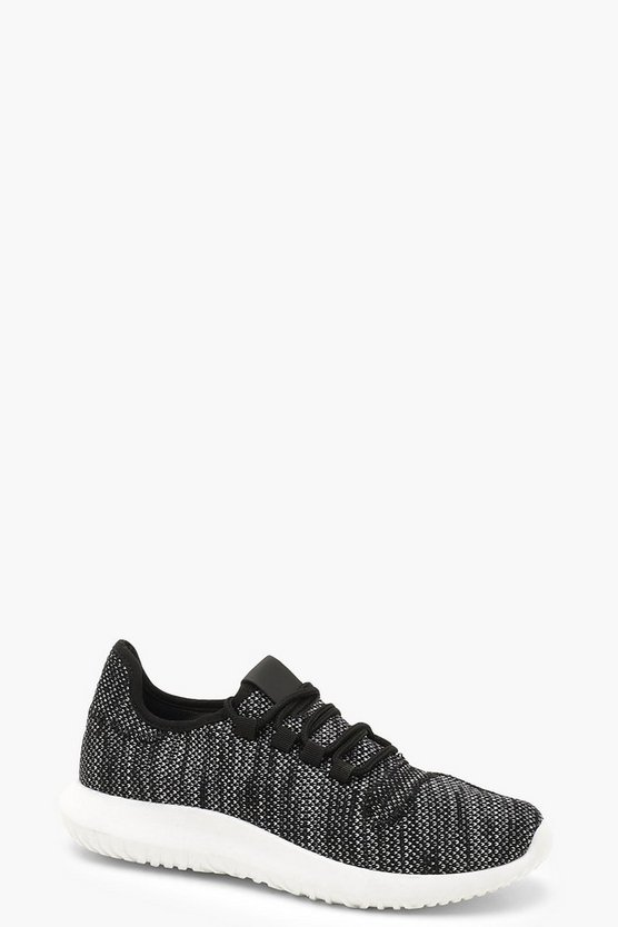 Womens Black Lace Up Sports Trainers