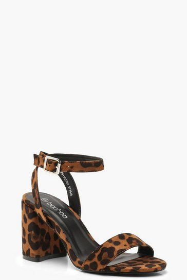 Womens Leopard Chunky Block 2 Part Heels
