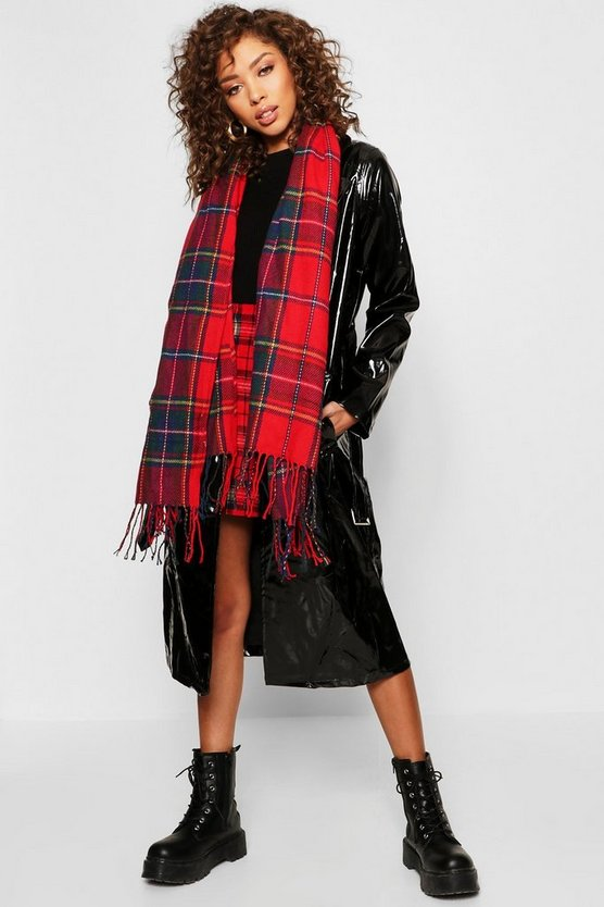 Womens Red Tartan Check Oversized Scarf
