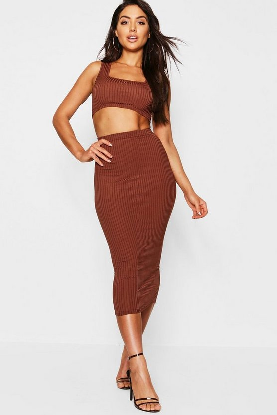 Mocha Jumbo Rib Square Neck Bralet & Midi Skirt Co-ord