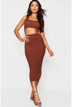 Mocha Jumbo Rib Square Neck Bralet&Midi Skirt Co-ord Set