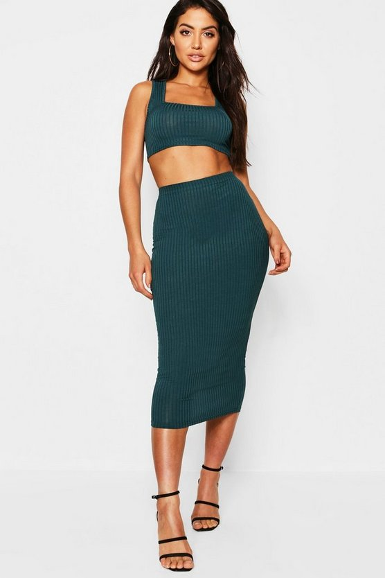 Teal Jumbo Rib Square Neck Bralet & Midi Skirt Co-ord