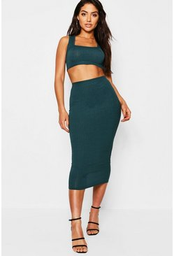 Jumbo Rib Square Neck Bralet & Midi Skirt Co-ord, Teal, Donna