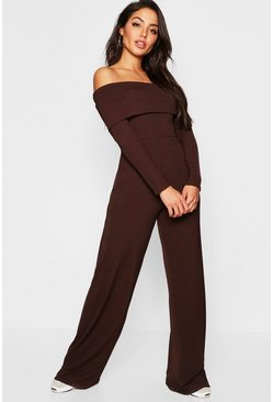 Womens Chocolate Jumbo Ribbed Bardot Culotte Jumpsuit