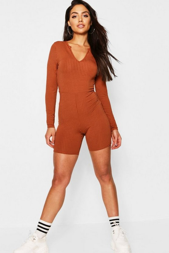 Caramel Jumbo Ribbed Notch Neck Long Sleeved Unitard Playsuit