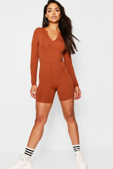 Womens Caramel Jumbo Ribbed Notch Neck Long Sleeved Unitard Playsuit