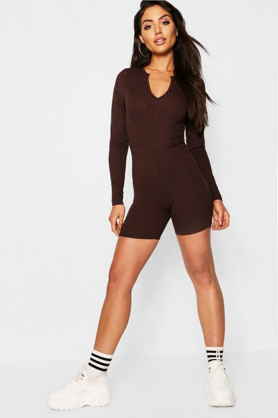 Jumbo Rib Notch Neck Long Sleeved Unitard