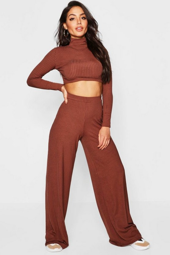 Womens Mocha Jumbo Rib High Waist Wide Leg Trouser