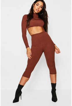 Womens Mocha Jumbo Rib Cropped 3/4 Leggings