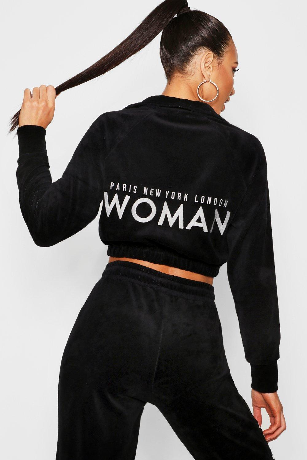Velour Woman Embroidered Sweat Top
