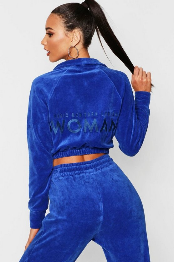 Blue Velour Woman Embroidered Sweat Top