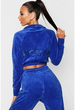 Womens Blue Velour Woman Embroidered Sweat Top