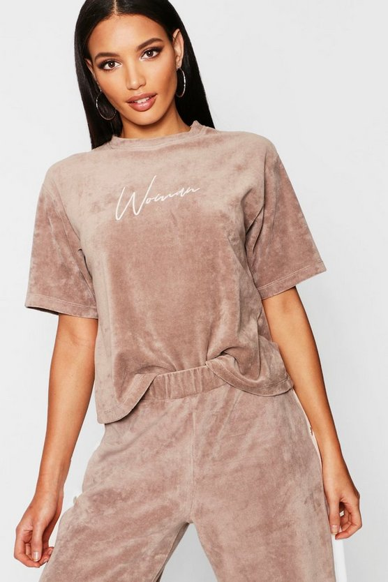 Velour Woman Embroidered T-Shirt