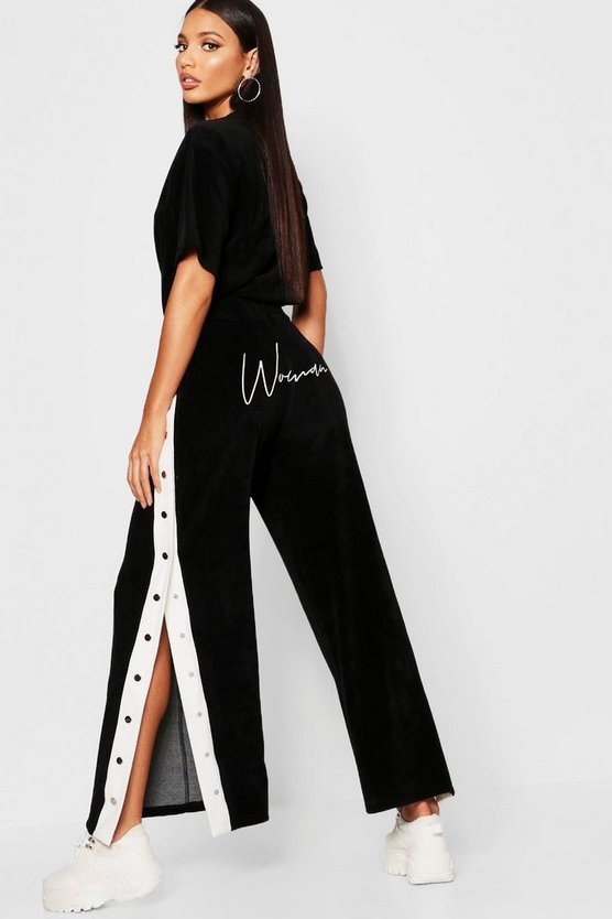 Womens Black Velour Woman Embroidered Wide Leg Pants