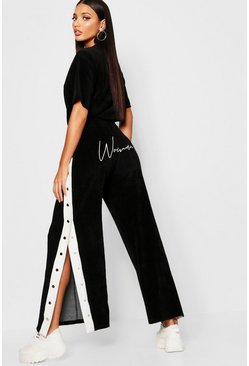 Womens Black Velour Woman Embroidered Wide Leg Trouser