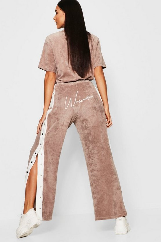 Champagne Velour Woman Embroidered Wide Leg Trouser