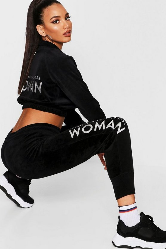 Velour Woman Embroidered Jogger