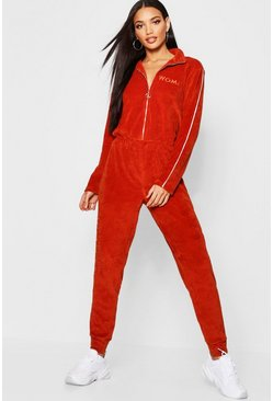 Womens Rust Velour Woman Embroidered Jumpsuit