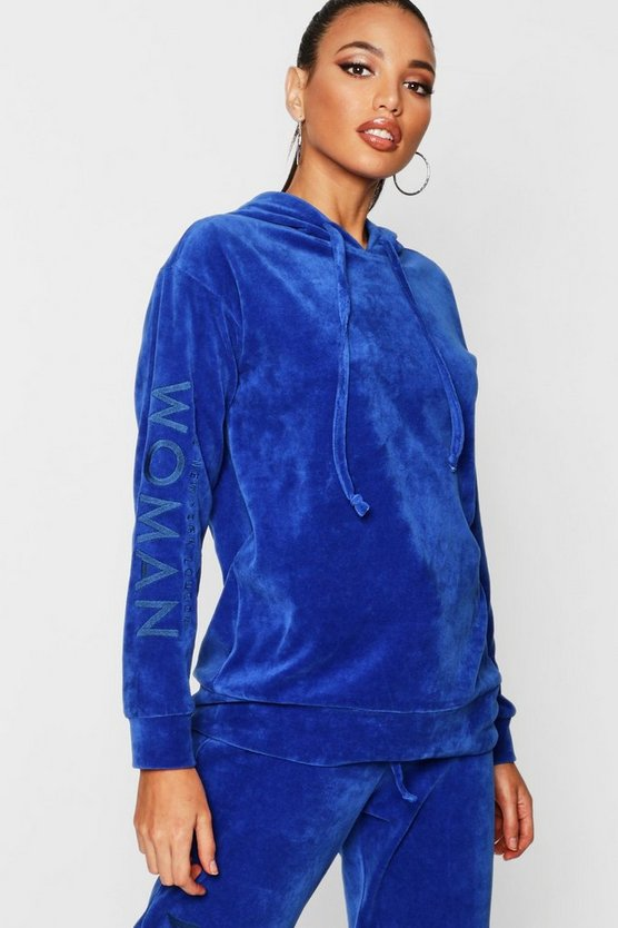 Velour Woman Embroidered Hoody