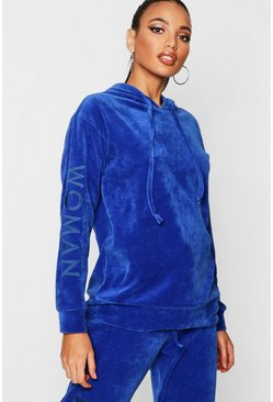 Womens Blue Velour Woman Embroidered Hoody