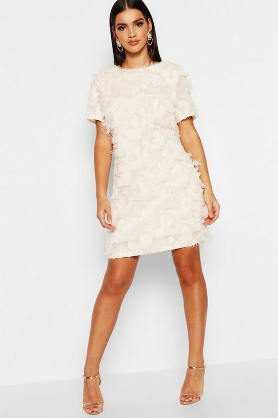 Fringed Mini Shift Dress
