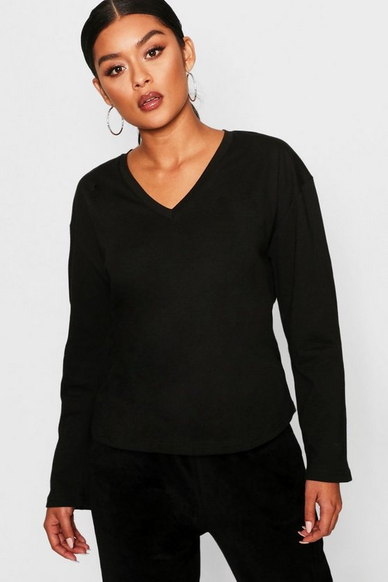 Womens Black Basic V Neck Cotton Long Sleeve T-Shirt