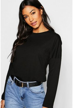Womens Black Basic Cotton Drop Shoulder T-Shirt